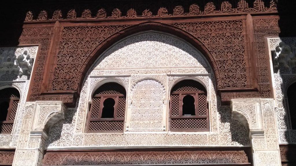 Meknes Marocco madrasa Bou Inania stucchi e intagli